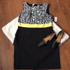 NWT Dress Barn Black White Yellow Midi Dress sz.14